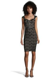 A.B.S. by Allen Schwartz black stretch lace fitted dress