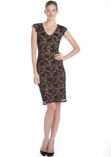 A.B.S. by Allen Schwartz black stretch lace v-neck cap sleeve dress