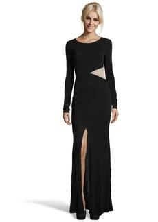 A.B.S. by Allen Schwartz black stretch mesh cutout long sleeve illusion gown