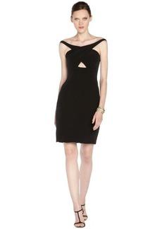 A.B.S. by Allen Schwartz black stretch off shoulder cutout dress