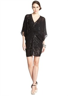 A.B.S. by Allen Schwartz black stretch sequin detail ruched short sleeve 'Batwin' kimono dress