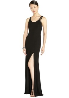A.B.S. by Allen Schwartz black stretch woven illusion mesh gown