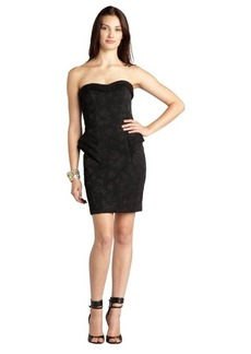 A.B.S. by Allen Schwartz black textured floral butnout ruffled side strapless cocktail dress