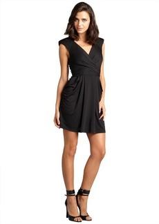 A.B.S. by Allen Schwartz black v-neck padded shoulder stretch jersey dress