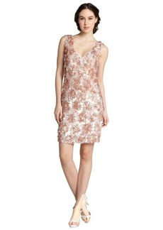 A.B.S. by Allen Schwartz blush lace and pailette v-neck sleeveless dress