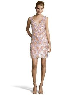 A.B.S. by Allen Schwartz blush lace and pailette v-neck sleeveless sheath dress