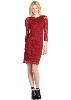 A.B.S. by Allen Schwartz burgundy lace long sleeve dress