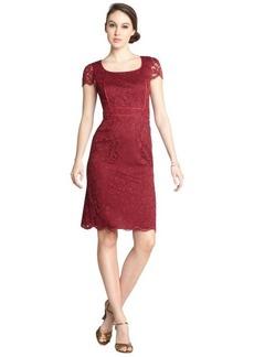 A.B.S. by Allen Schwartz burgundy stretch lace piping cap sleeve dress