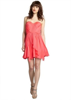 A.B.S. by Allen Schwartz carnation silk chiffon sheer back sweetheart bustier dress