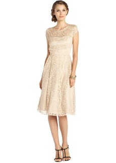A.B.S. by Allen Schwartz champagne stretch lace embroidered accent cap sleeve fit and flare dress