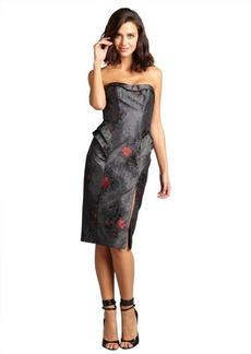 A.B.S. by Allen Schwartz charcoal sateen jacquard strapless peplum dress