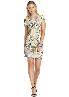A.B.S. by Allen Schwartz chartreuse print knit cap sleeve t-shirt dress