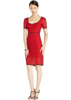 A.B.S. by Allen Schwartz cherry red lace short sleeve dress
