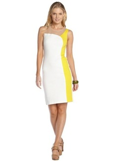 A.B.S. by Allen Schwartz citron and tan stretch colorblock mesh accent sleeveless illusion dress