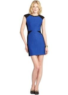 A.B.S. by Allen Schwartz cobalt blue studded colorblock stretch ponte cap sleeve dress