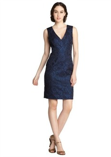 A.B.S. by Allen Schwartz cobalt cotton blend brocade v-neck sleeveless dress