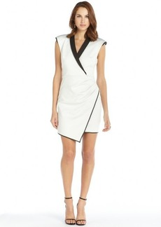 A.B.S. by Allen Schwartz cream and black stretch asymmetrical accent sleeveless tuxedo dress