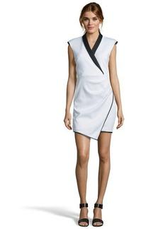 A.B.S. by Allen Schwartz cream and black stretch knit asymmetric tuxedo dress