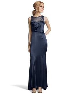 A.B.S. by Allen Schwartz dark midnight satin and silk chiffon sleeveless illusion gown