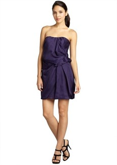 A.B.S. by Allen Schwartz dark purple silk orgnanza strapless shirred waist bubble dress