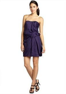 A.B.S. by Allen Schwartz dark purple silk orgnanza strapless shirred waist bubble dress