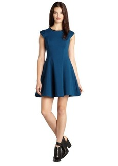 A.B.S. by Allen Schwartz deep teal stretch knit leather trimmed cap sleeve fit and flare dress
