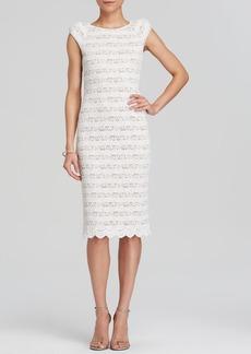 ABS by Allen Schwartz Dress - Cap Sleeve Stretch Stripe Lace Open Back