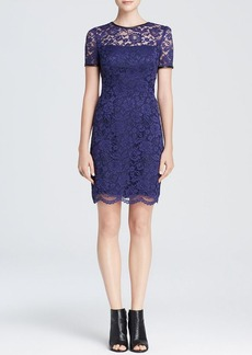 ABS by Allen Schwartz Dress - Short Sleeve Lace Scalloped Hem Fit and Flare