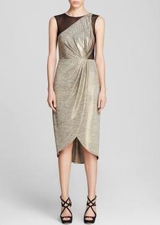 ABS by Allen Schwartz Dress - Sleeveless Metallic Jersey Mesh Cutout