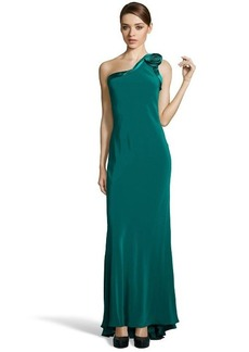 A.B.S. by Allen Schwartz emerald one shoulder rose open back gown