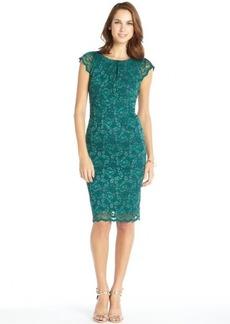 A.B.S. by Allen Schwartz emerald stretch lace overlay cap sleeve dress