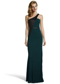 A.B.S. by Allen Schwartz forest green and black knit asymmetrical one-shoulder gown