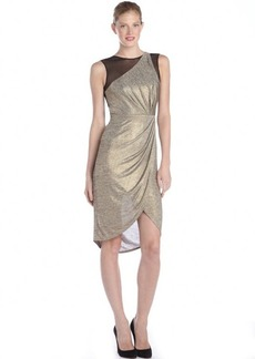 A.B.S. by Allen Schwartz gold and black stretch jersey and mesh sleeveless party dress