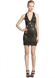 A.B.S. by Allen Schwartz gold stretch sequin embellished halter dress