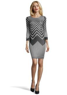 A.B.S. by Allen Schwartz grey chevron stretch knit 3/4 sleeve dress