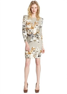 A.B.S. by Allen Schwartz grey multi-color print pattern knotted front long sleeve dress
