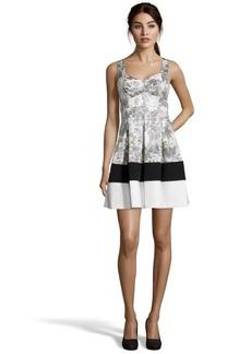 A.B.S. by Allen Schwartz grey multi-color stretch cotton blend printed dress