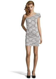 A.B.S. by Allen Schwartz ivory and black lace one shoulder mini dress