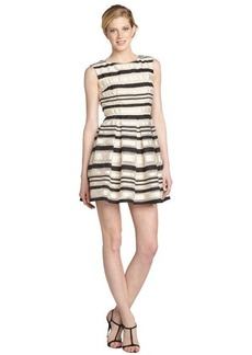 A.B.S. by Allen Schwartz ivory and black striped fit and flare party dress