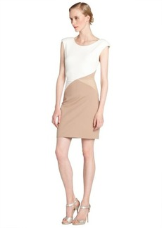 A.B.S. by Allen Schwartz ivory and nude stretch colorblock mesh accent sleeveless dress