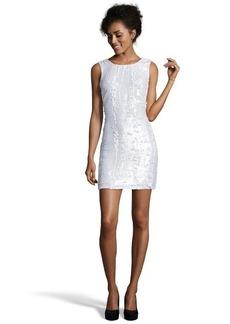 A.B.S. by Allen Schwartz ivory sequined sleeveless shift dress