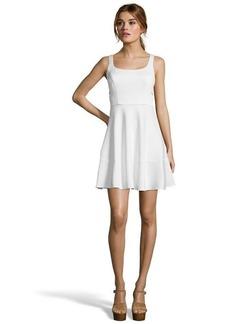 A.B.S. by Allen Schwartz ivory stretch knit cutout detail sleeveless A-line dress