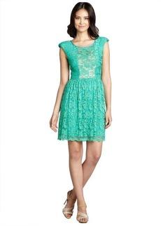 A.B.S. by Allen Schwartz jade green lace overlay sheer neckline stretch knit dress