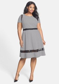 ABS by Allen Schwartz Mesh Inset Stripe Fit & Flare Dress (Plus Size)
