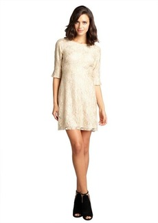A.B.S. by Allen Schwartz metallic gold and nude stretch lace three quarter sleeve dress
