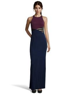 A.B.S. by Allen Schwartz midnight and burgundy colorblock cross back dress
