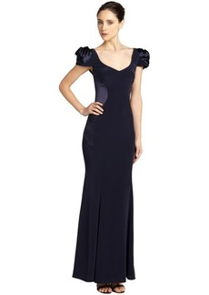 A.B.S. by Allen Schwartz midnight v-neck rose shoulder gown