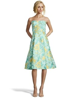 A.B.S. by Allen Schwartz mint floral woven strapless flared dress