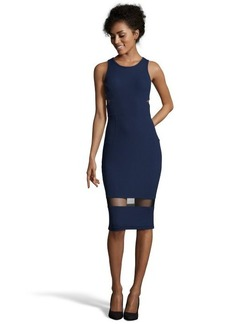 A.B.S. by Allen Schwartz navy and black stretch jersey mesh accent sleeveless illusion dress
