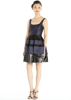A.B.S. by Allen Schwartz navy and black striped fit and flare faux leather bottom short evening dress